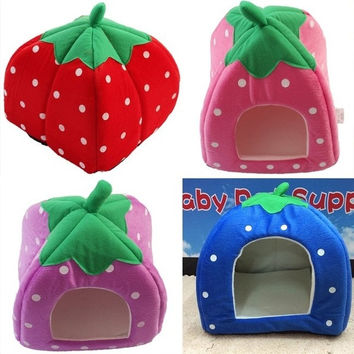 Hot Soft Strawberry Pet Dog Cat Bed House Kennel Doggy Warm Cushion Basket (please notice the detail size information so that you can choose a right house for your pet) = 1646015044
