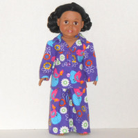 American Girl Doll Purple Flannel Pajamas with Birds and Flowers fit 18 inch dolls