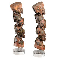 Antique Italian Columns carved grapes polychromed pair