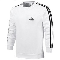 ADIDAS autumn and winter new plus velvet men's sports knit round neck pullover long-sleeved sweater white