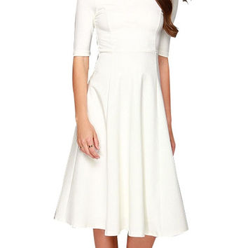 White Three-Quarter A-line Mid Dress with Back Zipper