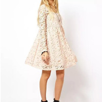 Floral Lace Long Sleeve Empire Pleated Mini Dress