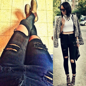 2016 New Fashion Women Casual Black High Waist Torn Jeans Hole Knee Skinny Pencil Pants Denim Ripped Jeans For Womens