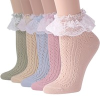 Funcat Women's Lace Ruffle Frilly Colorful Floral Cotton Casual Novelty Ankle Socks 4/5/6 Pairs