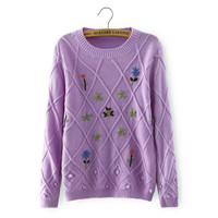 Floral Embroidery Pullover Knitted Shirt