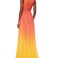 Elie Saab High-Slit Ombre Silk Gown & Ombre Crystal-Embellished Leather Belt, Coral Reef/Lemon