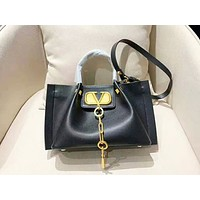Valentino color matching fashion casual wild shoulder slung handbag shopping bag Black