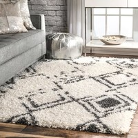 """nuLOOM White Modern Ombre Diamond Trellis Area Shag Rug - 9' 2"""" x 12' 