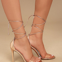 Ledah Rose Gold Lace-Up Heels