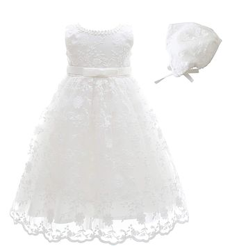 Glamulice Baby Girls Flower Christening Baptism Dress Formal Party Special Occasion Dresses for Toddler Label Size 3M / 0-6 Months Sleeveless Dress & Hat
