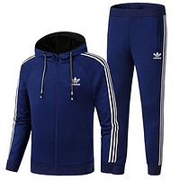 ADIDAS Clover autumn new men's plus velvet casual sportswear warm two-piece blue
