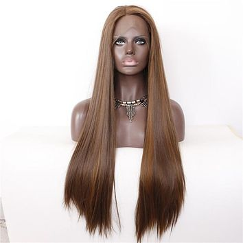 Serene- Brown Highlight Heat Resistant Front Lace Synthetic Wig