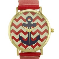 Women's Chevron Anchor Dial Watch in Red by Daytrip.