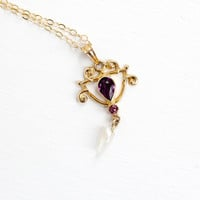 Antique 10k Yellow Gold Simulated Amethyst & Seed Pearl Art Nouveau Necklace - Vintage Lavalier Edwardian Fine Pendant Early 1900s Jewelry