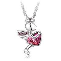 Sweet Powder Crystal Necklace for Women's Fahsion Jewelry