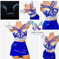 Light up Silver and blue space costume / dance costume / rave costume / EDC / light up clothes