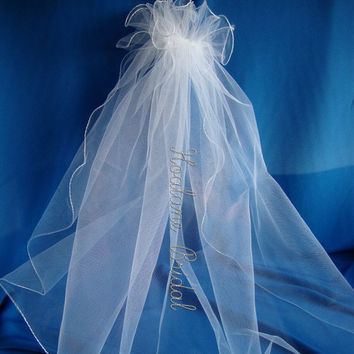 Veil, Flower girl veil, First Communion veil, Bridal veil, single layer veil with pouf