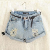Girls Vintage High Waisted Wash Denim Jeans Light Blue Pants Shorts
