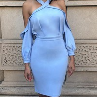 Criss Cross Halter Draped Sleeve Light Blue Stretch Crepe Dress
