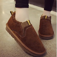 A new pair of all-in-one, fleecy, flat  boots for lovers shoes