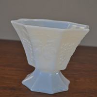 Vintage Milk Glass Octagonal Grape And Grape Leaves Compote Dish From The 1970's