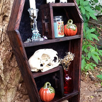 Coffin Shelf, Cubby Shelf, Display Case, Cross, Gothic, Gothic Furniture, Coffin Decor