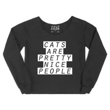 Cats are Pretty Nice People-Female Black Hoodie