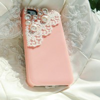 Lace Light Pink Pearl Hard Case for iPhone 4/4s