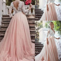 A-Line Lace Wedding Dresses With 3/4 Long Sleeves  Wedding Gowns