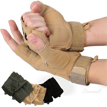 Outdoor Sports Fingerless Military Tactical Airsoft Hunting Riding Cycling Game Anti-Slip half Finger Gloves = 1958021060