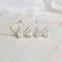 Gold Big Bow Stud Chain Cartilage Piercing