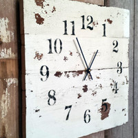 Reclaimed Barn Wood Clock Recycled Like Pallet Clock Barnwood Rustic Primitive Shabby Cottage Chic Handmade Made in USA Christmas Gift