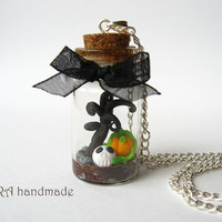 OOAK cute halloween glass bottle with skull and pumpkin necklace