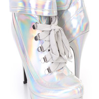 Silver Hologram Lace Up Ankle Strap Design Sexy Booties Faux Leather