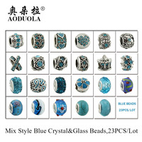 High Quality 23pcs Mix Style Antique silver Metal Beads Blue Crystal Charms fit Pandora charm bracelet DIY Jewelry