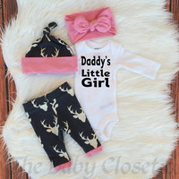 Baby Girls Coming Home Outfit,Daddy's Little Girl ,Country Outfit Set ,Girls Deer Outfit,Light Pink,Navy Blue and White,leggings,hat,Onesuit