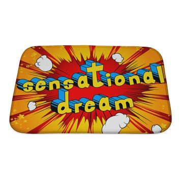 Bath Mat, Sensational Dream Comic Book Style Word