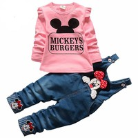 Minnie Mouse Comic Print Top & Overalls