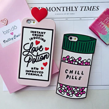 2016 3D Love Potion Chill Pills Bottle Phone Case For iPhone 7 PLUS 5 5s se 6 6S Plus Soft Silicone For NOTE 3 4 5 7 A7 A8 A9