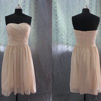 Custom Made Champagne Chiffon Simple Bridesmaids Dress,Prom Dresses,Short Gown