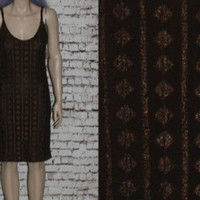 90s Bodycon Dress Burnout Mesh Lace Triangle Brown Grunge Hipster Boho Gypsy Festival Hippie S M Sundress