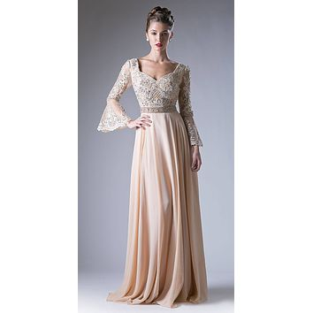 Embroidered Long Formal Dress with Trumpet Long Sleeves Champagne