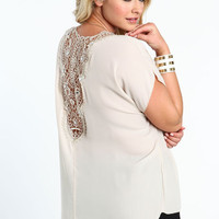 PLUS SIZE BEJEWELED CROCHET BACK TOP