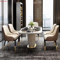 Luxurious Marble and PU Leather Dining Table