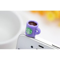 Dust Plug- Earphone Jack Accessories Lovely Starbucks Purple Coffee Cup Style/ Cell Charms / Ear Jack for Iphone 4 4s / Ipad / Ipod Touch / Other 3.5mm Ear Jack
