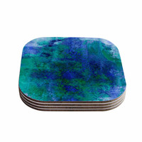 "Ebi Emporium ""Epoch 2"" Blue Teal Coasters (Set of 4)"