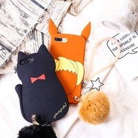 For iPhone X Pokemons Eevee Cat Kitten Fur Ball Pendant Strap Chain Soft Silicone Case For iPhone 8 6 6S 7 Plus