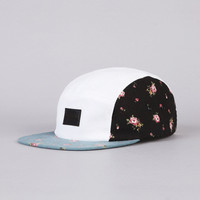 Flatspot - Flatspot Floral Twill 5 Panel Cap White / Black / Blue