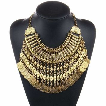 Gold Noble Roman Dangling Coin Collar Bold Necklace for Woman Ancient Rome Special Occasion