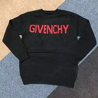GIVENCHY Autumn Winter Women Men Warm Long Sleeve Round Collar Sweater Sweatshirt Black(Red Letter)
